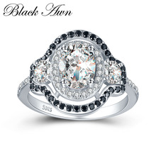 BLACK AWN 3 7g 925 Sterling Silver Jewelry Wedding Rings for Women Black White Stone