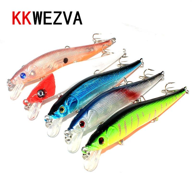 KKWEZVA 5db 11.5cm 13.5g wLure Minnow Crankbait Keményhúzó feszes - Halászat