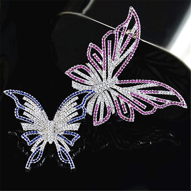 Двомісні метелики розкішні кришталеві брошки для жінок Vintage барвисті стразами-шпильками Модні прикраси на весільну вечірку