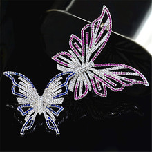 Double Butterfly Luxurious Crystal Brooches For Women Vintage Colorful Rhinestone Pins Fashion Wedding Party Jewelry