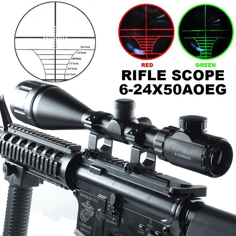 Tactical 11mm/20mm 6-24X50 AOE Green Red Dot Mil-Dot Illuminated Optics Hunting Crosshair Rifle Scope Gun Scope Optical Sight 4x 30mm red green mil dot reticle rifle scope with gun mount black 3 x ag13 1 x cr2032