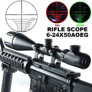 Tactical 11mm/20mm 6-24X50 AOE Green Red Dot Mil-Dot Illuminated Optics Hunting Crosshair Rifle Scope Gun Scope Optical Sight - DISCOUNT ITEM  5% OFF Sports & Entertainment