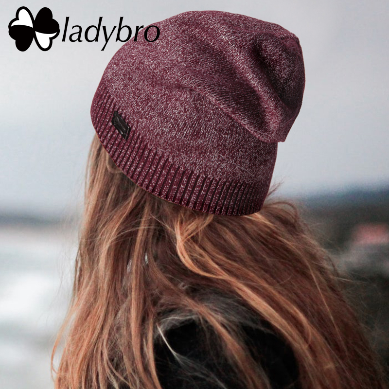 Ladybro Chapéu das Mulheres Chapéu De Lã Outono Inverno Mulheres Gorros  Skullies Feminino Cap Quente Malha 39c9f1ffba8