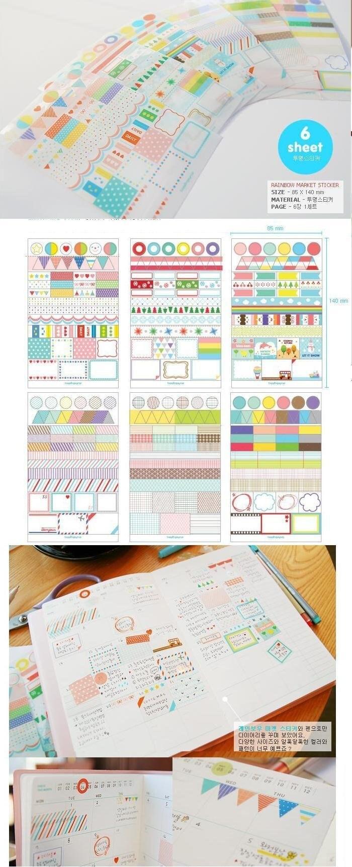 10 pacotes lote arco-íris diário adesivos multifunction