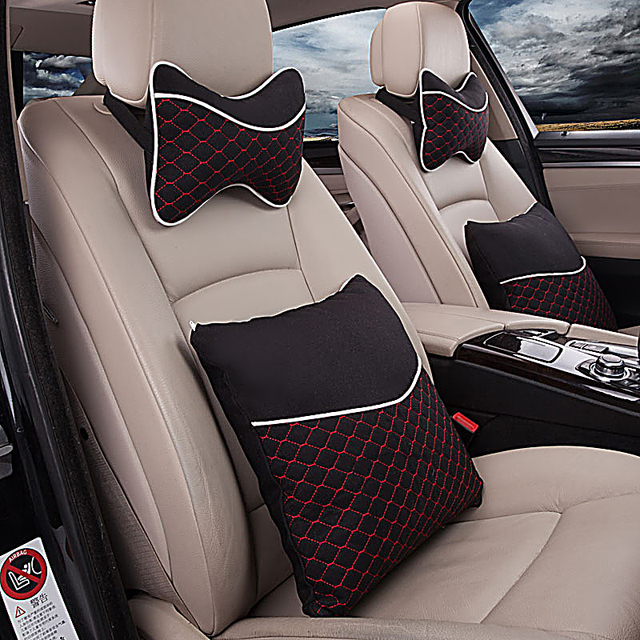 Car headrest pillows 4 times Car pillows neck pillow couple The four seasons flax car to protect the waist cushion for leaning o