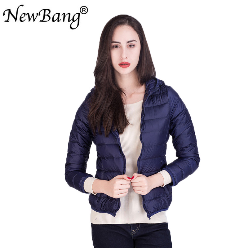 New Bang Hooded White Duck Down Coat Female Ultra Light Down Jacket Women Windbreaker Light Weight Coat Portable Plus 12 Colors