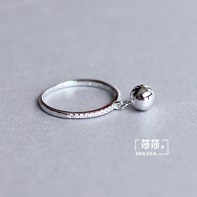 Korean Fashion Silver Color Ball Adjustable Size Rings For Women Ladies Luxury Jewelry Trendy Antique Ring Anillos 5