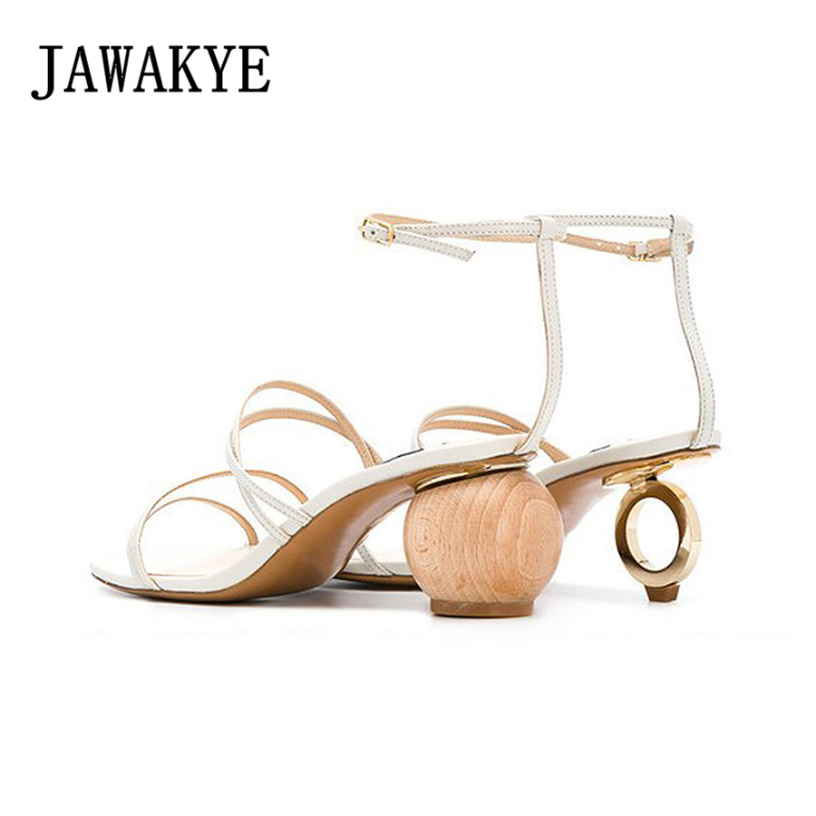2018 New Sexy Asymmetrical blocks Round heel Gladiator Sandals Women Open Toe Strappy Heels Strange heel ladies Party Shoes women sandals new sexy high heel gladiator sandals women ladies fashion contract candy color sexy open toe dancing sandals