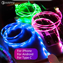 USB Cable Type C Cable Flowing LED Glow Charging Data Sync Mobile Phone Cables For iPhone 6 Android Samsung S9 USB Charging line led glow charging usb cable type c cable flowing data sync mobile phone cables for iphone 6 android samsung huawei xiaomi htc lg