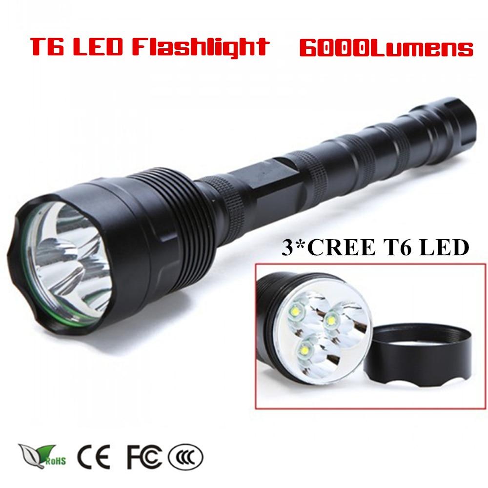 Super Bright 6000 Lumen Flashlight Torch Lamp 3 New Xm L