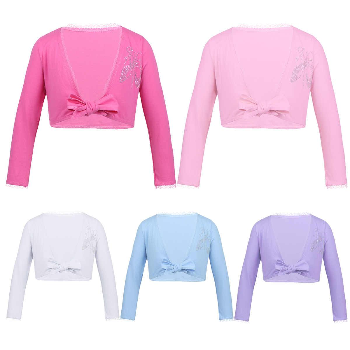 4b5dc3255 Girls Long Sleeve Dance Costume Crop Tops Girl Bow Lace Ballet Leotard  Shrug Wrap Top Cardigan
