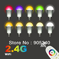 9W E27 LED bulb with 2.4G remote ,AC86-264V,RGBCW,Wireless led lamp 1SET, 1bulb and 1 remote