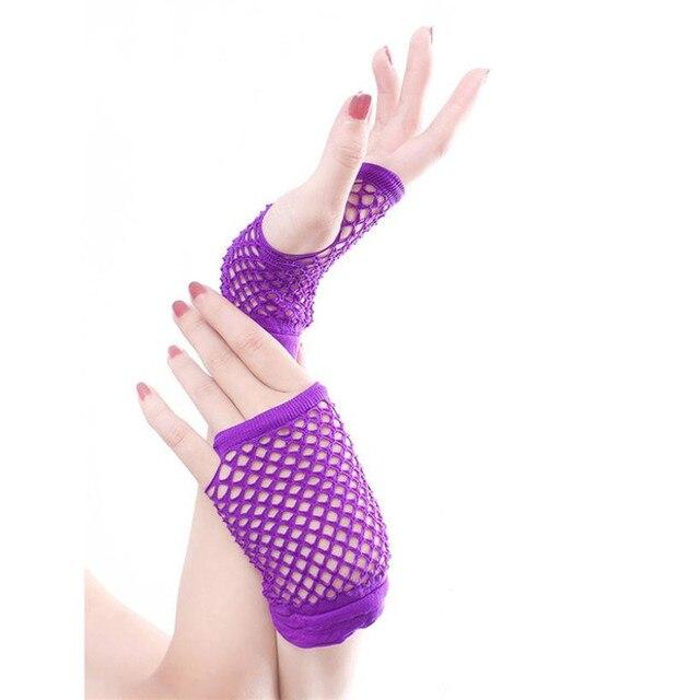 Punk Goth Lady Disco Dance disfraz encaje guantes de malla sin dedos ...