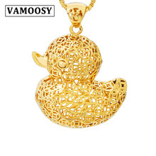 цены 24K Gold Yellow gold Duck Hollow Design Pendants for Women friendship Gift Pendant Lucky Cute Women Ingots Jewelry Gift no chain
