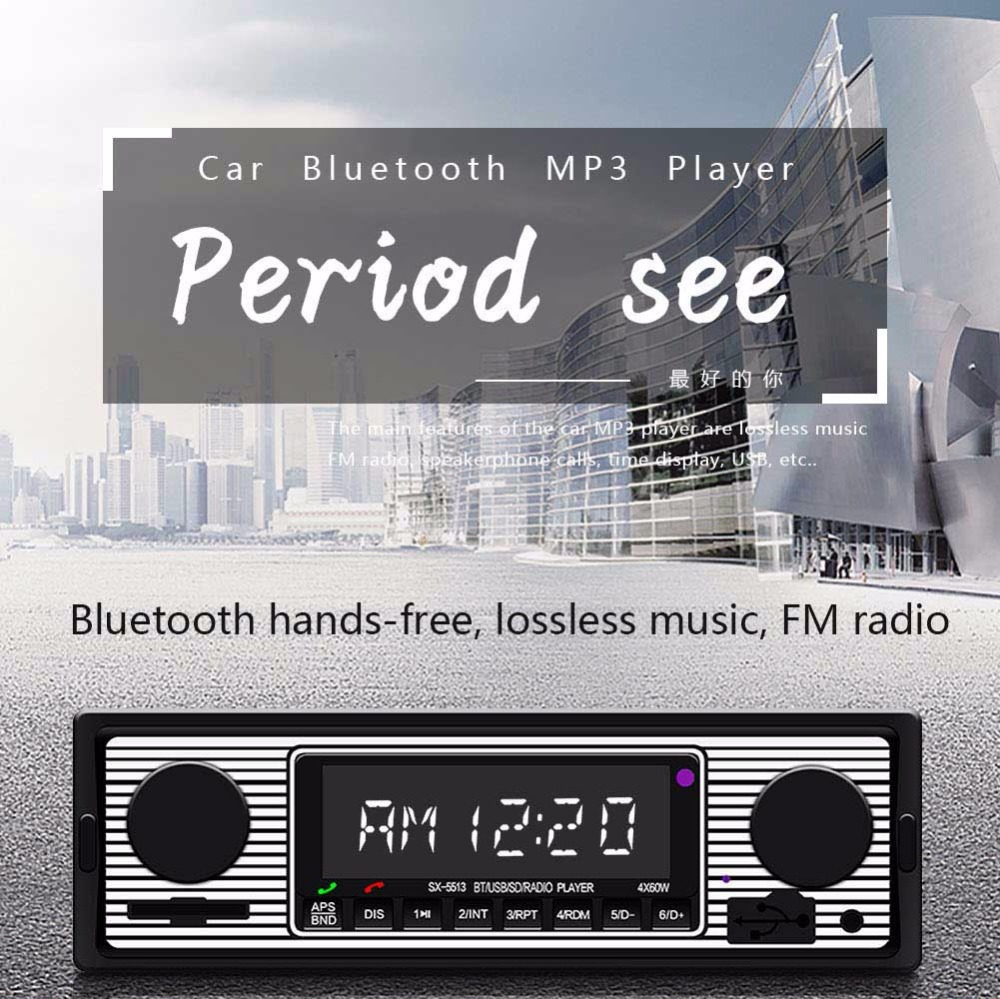 12V Car Stereo 5513 Car Radio1 din Autoradio Stereo Tape Recorder FM Receiver Bluetooth BT/USB/SD Audio Radios Universal MP3 Pla