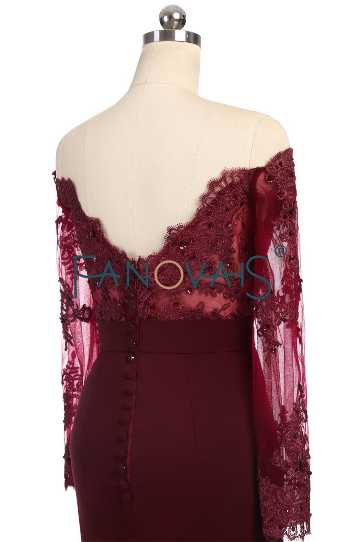 Hot Selling burgundské družičky šaty s dlouhými rukávy z ramene - Šaty pro svatební hostiny - Fotografie 4