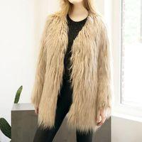 FashionWomen Fur Faux Fur Coat Casual Solid Fashion Slim Fur Open Stitch Long Outwear 2017 New