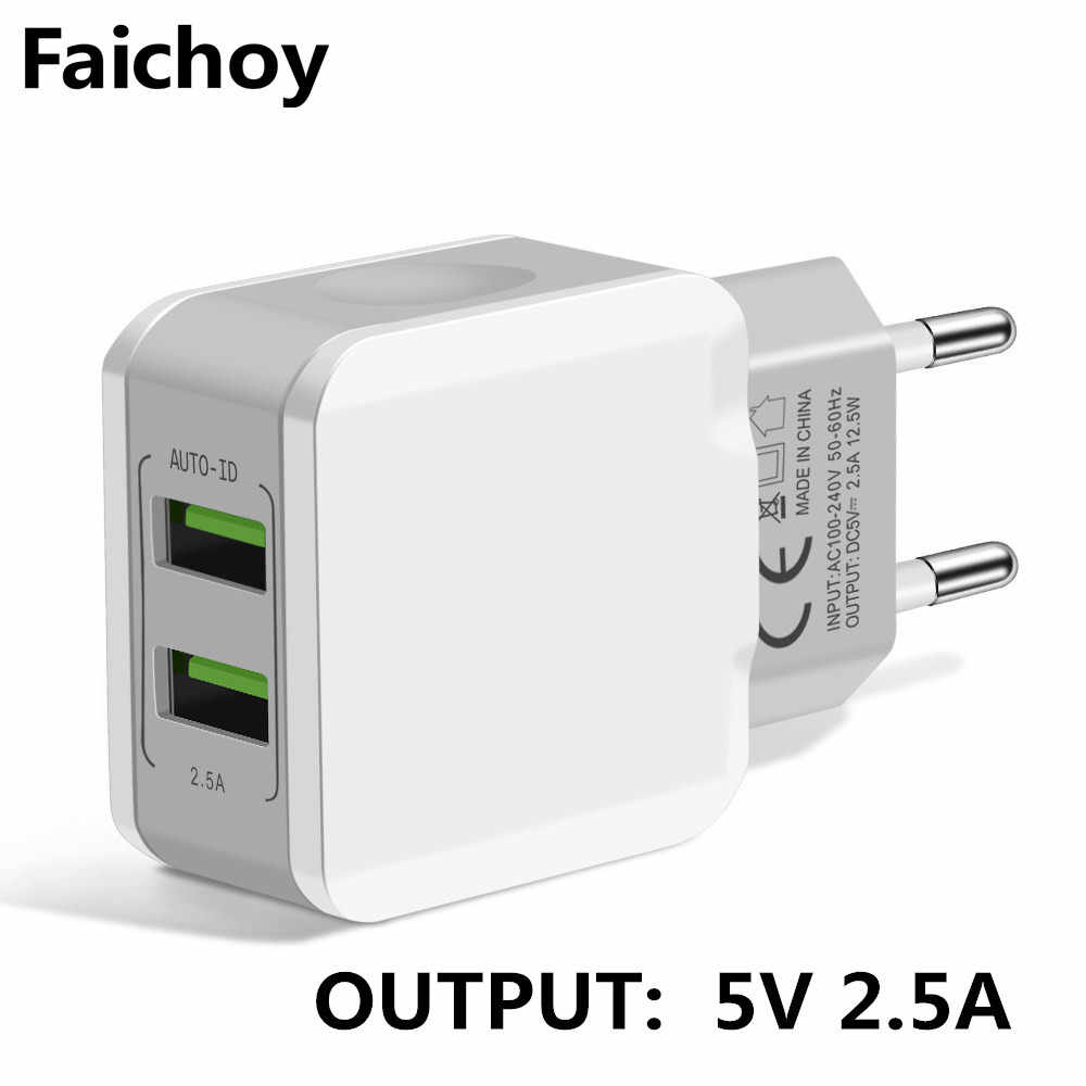 5V 2.5A Universal 2 Port USB Charger Smart Travel Adaptor Dinding Portable Uni Eropa Plug Ponsel Charger untuk iPhone X Samsung Xiaomi