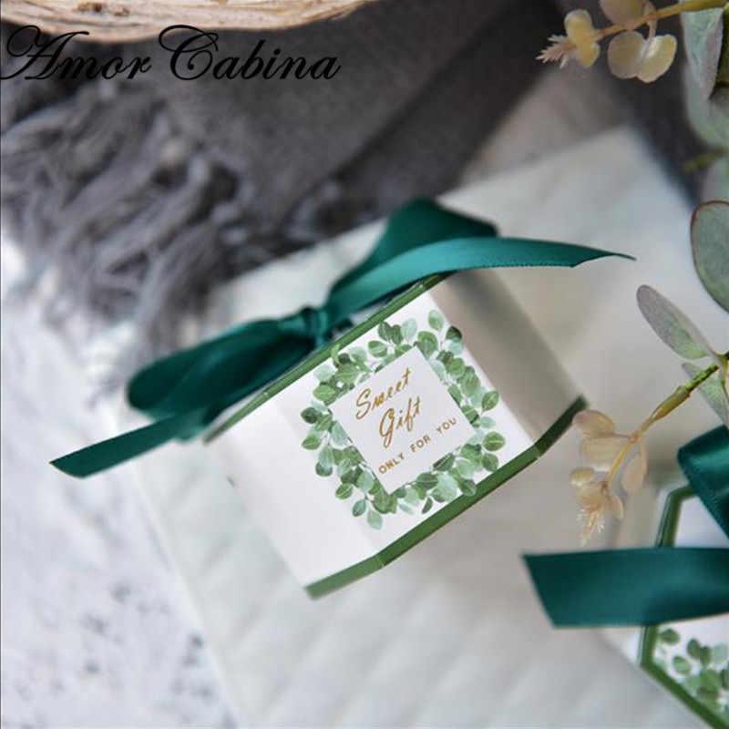 """50 ピース創造葉森スタイル六角 """"甘いギフト"""" ウェディングキャンディーのようなボックスクリスマスパーティー用品チョコレートギフトボックス"""