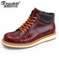 أول طبقة من الجلد أزياء كلاسيكية رجل أداة الأحذية الرجال جلد طبيعي منخفضة الأحذية في الكاحل مارتن التمهيد ل سوء