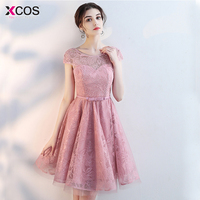 elegant homecoming dress a line cap sleeve lace up knee length short prom gown dust pink graduation dresses 2018