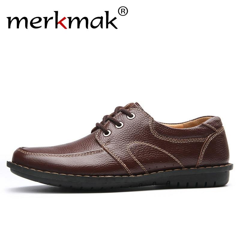 Merkmak New Fashion Men Casual Leather Shoes Genuine Leather Men