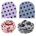 Winter Spring Cotton Baby Hat Cute Stars Crochet Baby Cap Beanies Toddler Baby Scarf Boys Girls O Ring Scarves enfants bonnet