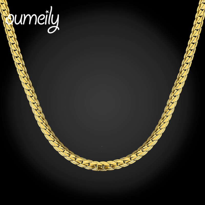 OUMEILY Trendy Stainless Steel Long Link Necklace For Men Gold Color Chain Classic Jewelry Fashion Holiday Accessories