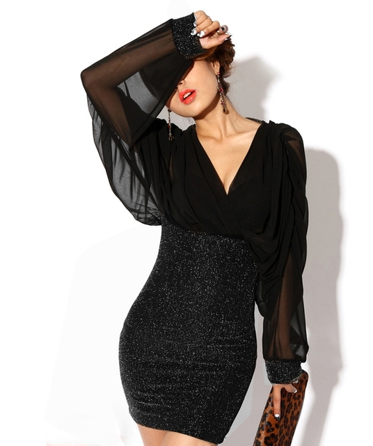 Glitter Dress Sheath Bodycon Loose Long Sleeve Clubwear