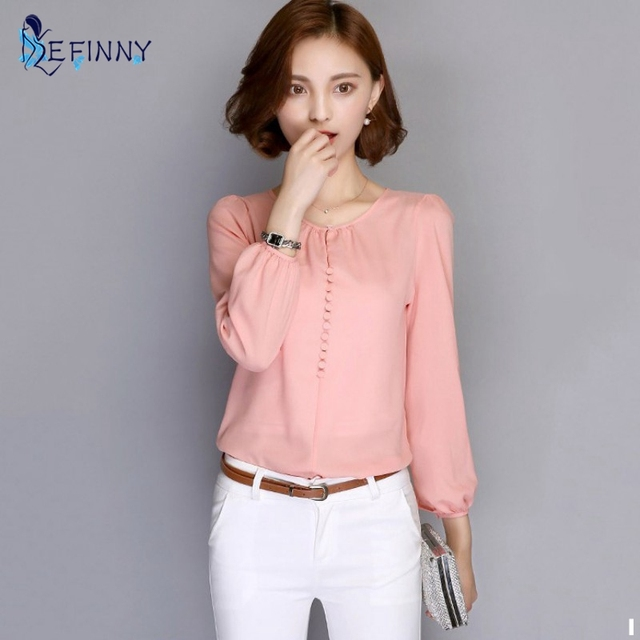 123a9c31eec54e EFINNY Fashion Women Casual Loose Blouses Long Sleeve Autumn Chiffon Blouse  Shirt Elegant Ladies Tops White