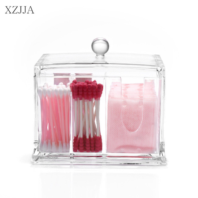 xzjja acrylic makeup organizers cotton pad q tip storage box multifunction bathroom desktop make up