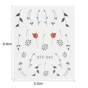 Image 2 - מלא יופי 40pc מים DIY מחוון נייל מדבקת סט פרח שחור שרשרת קעקוע מניקור נייל אמנות פולני דקור טיפים CHSTZ608 658