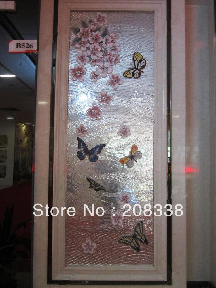 Цветочная стеклянная мозаичная плитка современное искусство настенная роспись