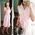 Taovk ruso estilo de diseño nuevo de la manera 2017 de las mujeres pink dress