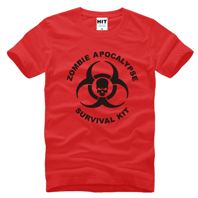 Zombie Apocalypse Survival Kit Skull Printed Mens Men T Shirt Tshirt Fashion 2016 New O Neck Cotton T-shirt Tee Camisetas Hombre