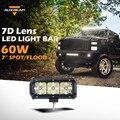 Auxbeam 7d lente 7 pulgadas auto llevó la barra ligera del cree conducción campo a través de chips Barra de leds para el Coche SUV Camioneta Combo Haz de luces de Trabajo 1 unid