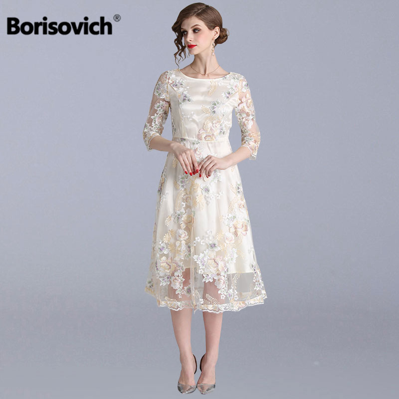 Borisovich Women Party Dresses New 2019 Spring Fashion Sweet Style Luxury Embroidery Elegant A line Female