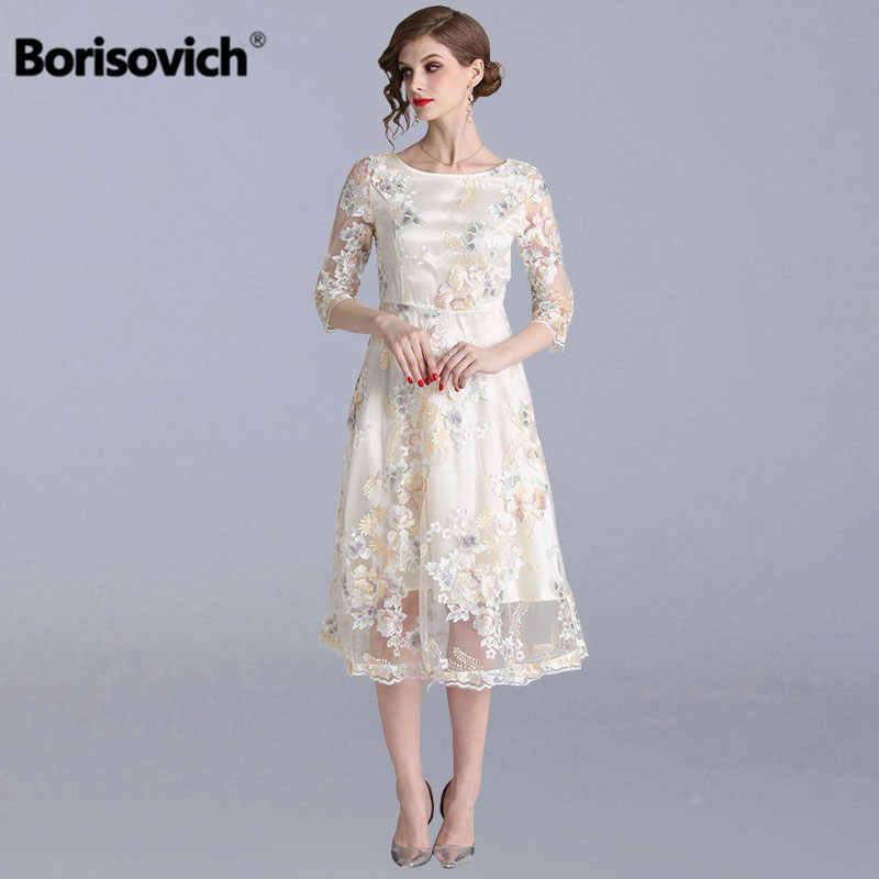 Borisovich Wanita Gaun Pesta Baru 2019 Musim Semi Gaya Manis Mewah Bordir Elegan A Line Kasual Gaun N730