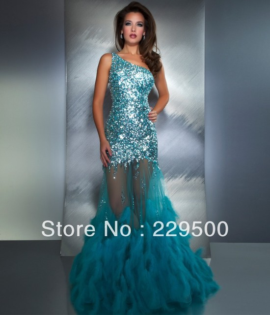 Dazzling Luxury One Shoulder Tulle Sequin Diamond Party Gown With ...