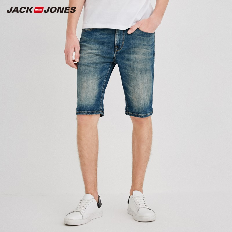 JackJones Men's Slim Fit Stretch Cotton Tight-leg Denim   Shorts   J|218243511
