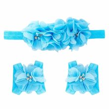 Fashion Baby girl headband Foot Flower Barefoot Sandals + Headband Set super quality lovely girl hair accessories best gift(China)