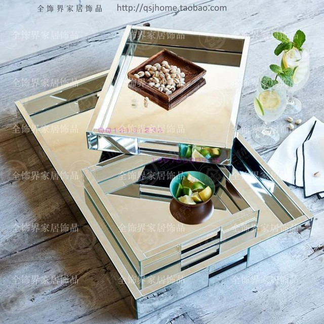 Easy Home Decorating With Trays: Glass Mirrored Tray Modern Wine Glass Tray Storage Tray