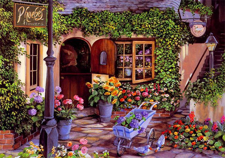 Free Shipping Wall Art Garden Flowers Impression Painting Artwork Printed Oil Wk 408