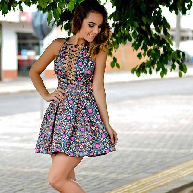 2017 летнее Стильное женское платье Vestidos с принтом жилет с тонкими лямками