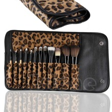 Graceful 12 PCS Makeup Brush Set Classic Cosmetic Tool Leopard Bag Brushes Gift