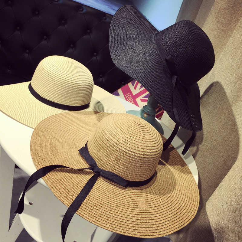 Summer Wide Brim Straw Hats Big Sun Hats For Women  UV Protection Panama  floppy  Beach Hats Ladies bow  hat chapeau femme ete