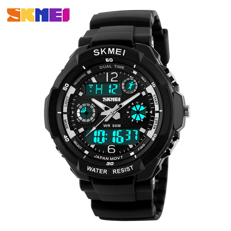 SKMEI  Brand OutDoor Army Sports Watches Fashion LED Quartz Digital Watch Boys Girls Kids 50M Waterproof Student Wristwatches
