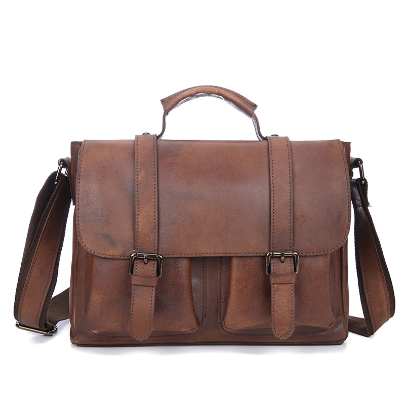 Bag Men's Genuine Leather Briefcase Men's Shoulder Bag Retro Genuine Leather High Capacity Business Messenger Handbags Leather genuine leather