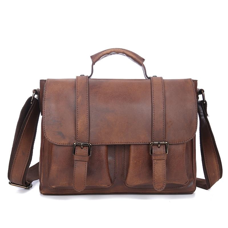 Väska Herrläder Portfölj Herr Skuldväska Herr äkta läder Hög kapacitet Business Messenger Handväskor Läder
