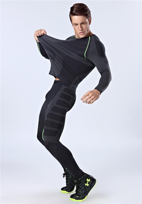Prix pour Hommes de Mince À Manches Longues + Remise En Forme Pantalon de Sport Minceur Sous-Vêtements Body Hommes Corps Shaper Rapide-sec De Compression Sous-Vêtements serrés